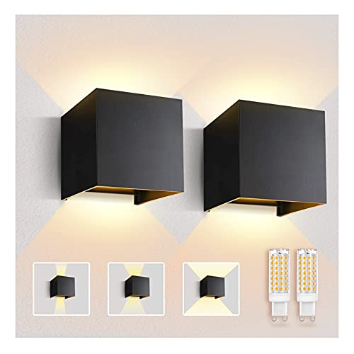 Imoli 2 lámparas LED de pared con bombilla G9 LED, fuente de luz intercambiable, luz blanca cálida 3000 K, aluminio, IP65, dormitorio, escaleras, baño, pasillo (negro)