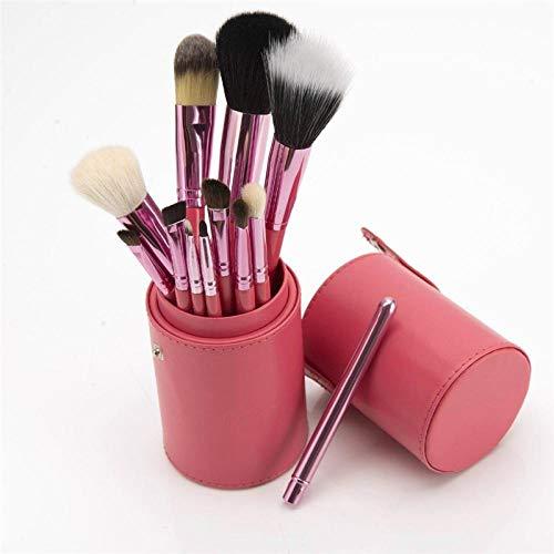 Fanxp® 12 Pcs Cylindre Maquillage Brosse Ensembles Sourcils Pinceaux Poudre Pincel Maquiagem Pinceaux de Maquillage Cosmétique Sac Support En Gros Brosse-Rose