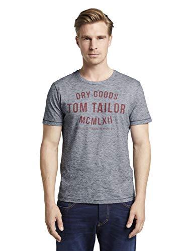 TOM TAILOR Herren T-Shirts/Tops T-Shirt mit Print Navy White Yarndye Stripe,XL