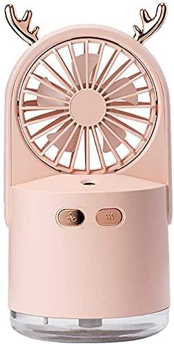 Ankon Fans portátiles de la mesa de ventilador USB, 60 ° Ventilador de la mesa de rotación vertical con la luz nocturna del humidificador, la sonda física de la capacidad de 240 ml, para la biblioteca