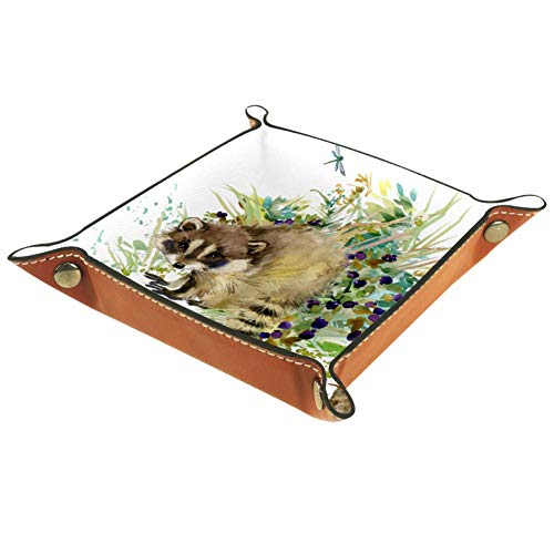 HOHAHA - Bandeja plegable para guardar joyas con forma de mapache, diseño de animales del bosque, acuarelas, organizador de viaje, plegable, caja de accesorios para joyas, cartera, teléfonos, monedas, relojes, gafas de sol, llaves