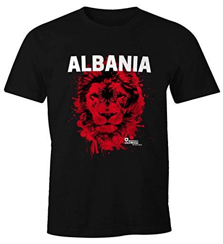 MoonWorks Herren T-Shirt Fanshirt Albanien Albania Fußball EM WM Löwe Flagge Shqipërisë Lion Fan Shirt schwarz S
