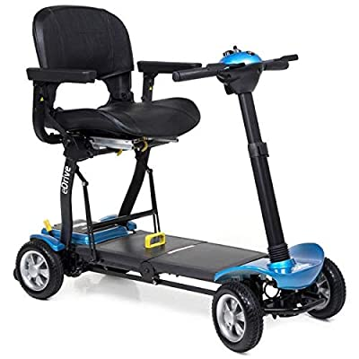 eDrive Electric – Removable Lightweight Battery – Automatic Folding – Travel Mobility Scooter with Heavy Duty Travel Case (Blue)
