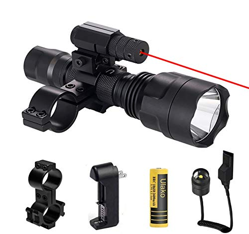 Ulako Red Dot Laser with Single 1 Mode Hunting V3 Flashlight Torch