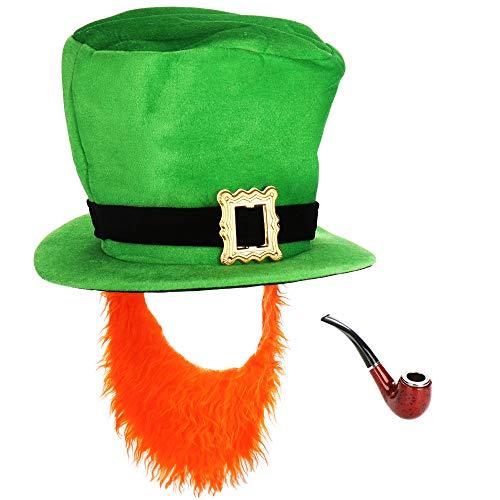 com-four® Leprechaun, Disfraces de Kobold Día de San Patricio - atuendos Accesorios Festival, irlandés - Mardi Gras, Shrovetide, Carnival, Parade, Motto Party, Irish Pub (02 Piezas - Set09)