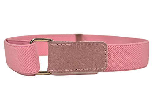 Cinturón Elástico para los Niños/Niñas 1-6 Años con Hook y Loop Fijación. Rosa Claro