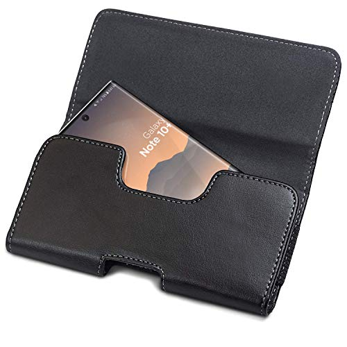 Encased Galaxy Note 10 Plus Holster Belt Pouch (2019) Secure Fit Case Holder Clip with Magnetic Closure PU Leather Belt Loops (Case Compatible)