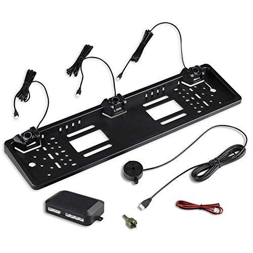 Kennzeichenhalter mit Einparkhilfe für hinten in schwarz – ideal zum Nachrüsten eines PDC Systems – mit Lautsprecher zur akustischen Warnung – 3 Sensoren variabel einstellbar neu