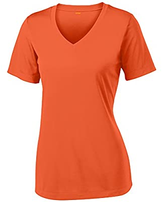 Opna Women's Short Sleeve Moisture Wicking Athletic Shirt, Large, Deep Orange