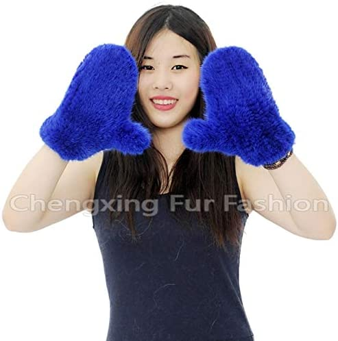 CX-A-60H Winter Warm Fingerless Gloves Women Knitted Mink Fur Gloves - (Color: K)