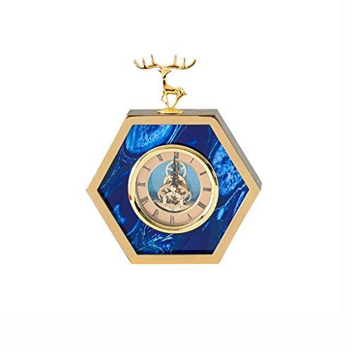 zlw-shop Decorativo Reloj Cabeza de Lujo Ligero Cabeza de Metal Moderno y Moderno y de Moda DISEÑO DE Mantel Reloj Reloj de Mesa (Color : B)