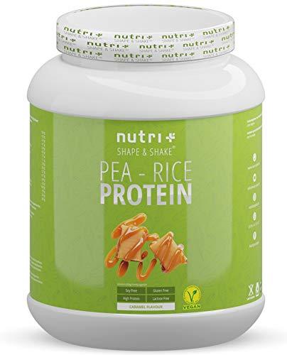 ERBSENPROTEIN - REISPROTEIN Karamell 1kg - Veganes Proteinpulver ohne Soja, Zucker und Gluten- Eiweiß Blend Vegan - Pea Rice Protein Powder Caramel - In Deutschland hergestellt