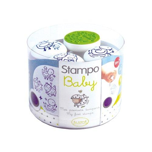 Aladine 55209 Stampo Baby Bauernhof, 4 Stempel und 1 Stempelkissen (blau)