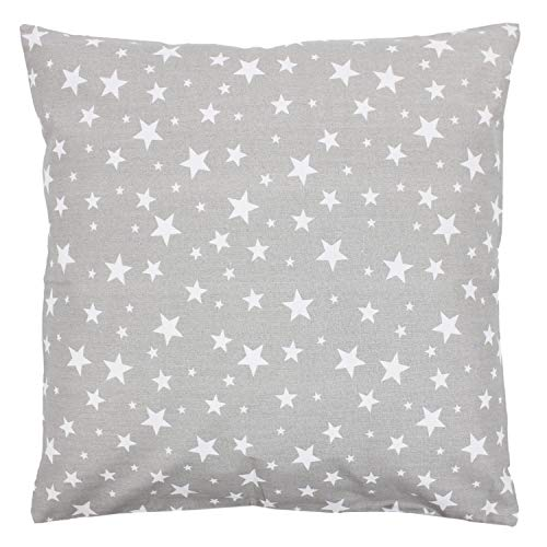 TupTam Funda para Cojin con Diseño Decorativo para Niños, Estrellas Gris/Blanco, 50 x 50 cm