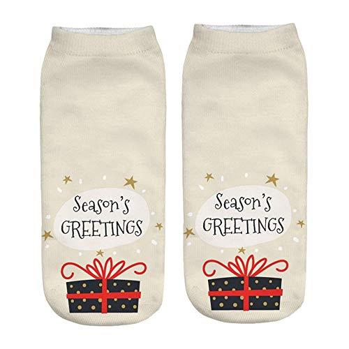 TIGERROSA kousen 3 paar dames 3D cartoon grappige kerstsokken fashin crazy leuke nieuwheid print sokken wit