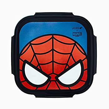 Yoobi x Marvel Spider-Man Bento Box + Ice Pack– 3 Compartment Bento Lunch Box – Dishwasher & Microwave Safe Cute Bento Box for Kids & Adults – BPA & PVC Free Leakproof Bento Box