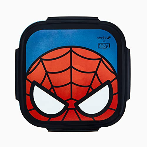 Yoobi x Marvel Spider-Man Bento Box + Ice Pack– 3 Compartment Bento Lunch Box – Dishwasher & Microwave Safe Cute Bento Box for Kids & Adults – BPA & PVC Free, Leakproof Bento Box