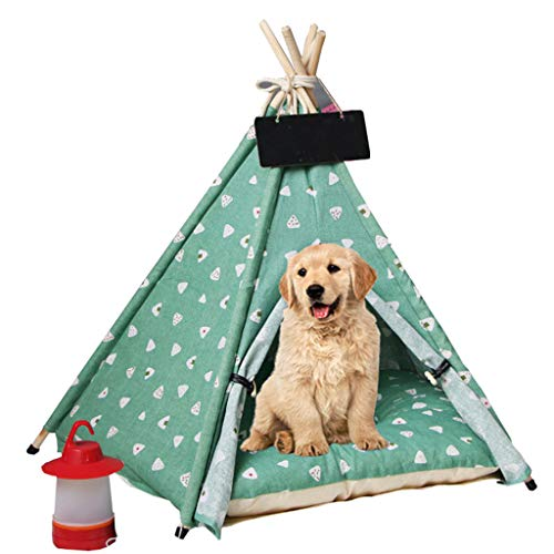 Estrella-L Pet Teepee, For Dogs Modern Portable Dog Tent 24 Inch Pet Teepee with Thick Cushion Foldable Dog House Floor Mat,L