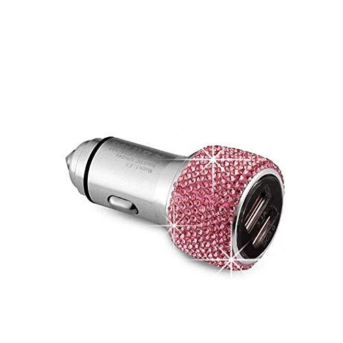 ZGYQGOO Cargador Coche Doble USB Martillo Seguridad Diamante Cargador Coche Cargador Coche Diamante metálico Cargador teléfono Universal para Coche (Color: A)