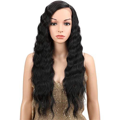 Lace Front Perücken, langes lockiges Haar, gewelltes schwarzes Synthetisches Hochtemperaturperücken für 130% dichtes Urlaubshaar für Schwarze Frauen, 30 Zoll