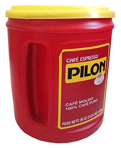 Café Pilon Espresso Coffee Ground Molido 100% Pure 36 Ounce Can (1 Can)