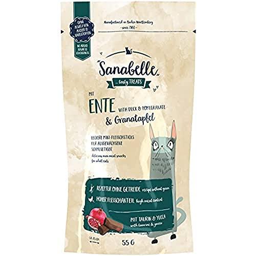 Sanabelle Snack Canard et Grenade | Délicieux mini bâtonnets de viande pour chats adultes | 20 x 55 g