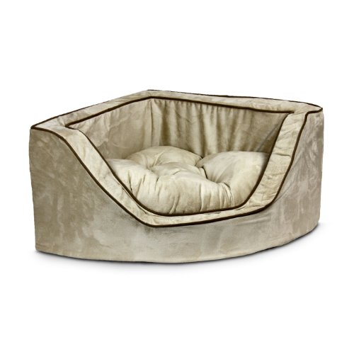 Snoozer Luxury Corner Pet Bed, Large, Buckskin/Java