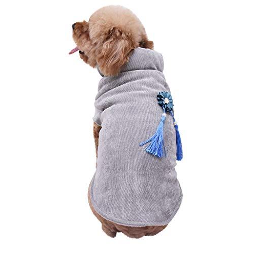 Yowablo Haustier-Hundehemd-Winter-warme Mantel-Sweatshirt-Weste streichelt warme Kleidung der Katze (L,1- Grau)