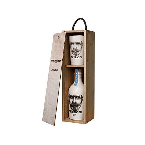 Knut Hansen Dry Gin 42% Volume 0,5l in Holzkiste mit Keramiktasse