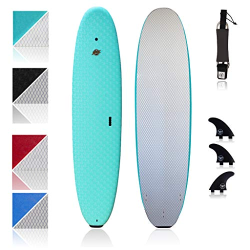 South Bay Board Co. - Premium Beginner Soft Top Surfboards - 8' Verve - The Best Foam Surf Boards for Beginners, Kids, and Adults - Wax Free Soft Top Surfboards for Fun & Easy Surfing (Aqua)
