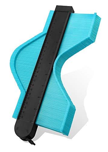 型取りゲージ, コンターゲージ最新の拡張バージョンストッパー付 測量工具 曲線定規 不規則な測定器測定ゲージセット250mm輪郭ゲージ タイルタイリング/カーペット/ラミネート/木材に適用 ABSプラスチック製 -緑