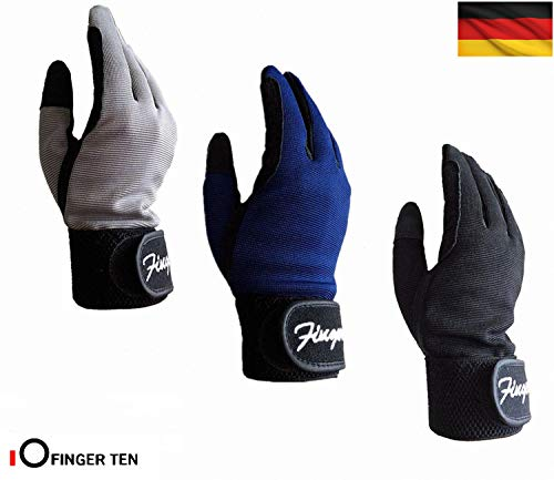 FINGER TEN Reithandschuhe Kinder Jungen Mädchen Jugend Reiten Reiter Reitsport Handschuhe Grau Schwarz Blau Comfortable Grip Paar Für Kinder Alter 5-14 (Blau, L