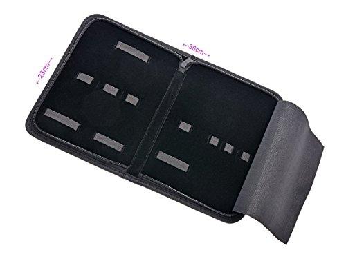 Etui- Tasche- Aufbewahrungsetui aus schwarzem Kunstleder-universal Tasche Reißverschluss- für Nagelzangen- Nagelscheren- Podologie Instrumente-Haarscheren-Ohne Inhalt- (7 Laschen)