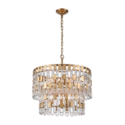 StarSun Depot Blockchain 6-Light Chandelier, 17″ W x 17″ De x 21.5″ H, Gold (Satin Brass)