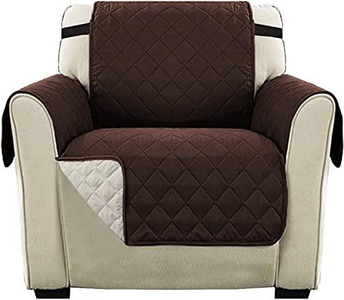 LikeGoods66 Fundas para muebles de sofá, fundas de microfibra para sofá, bolsillos laterales, protectores cuadrados de microfibra para mascotas y niños (marrón/beige, 1 plaza-2 piezas)