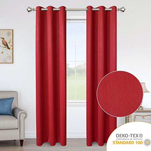 LORDTEX Blackout Curtains for Bedroom -Embossed Design Thermal Insulated Curtains with Grommet Top Room Darkening Noise Reducing Window Drapes for Living Room, 2 Panels, Red, 42 x 84 inch