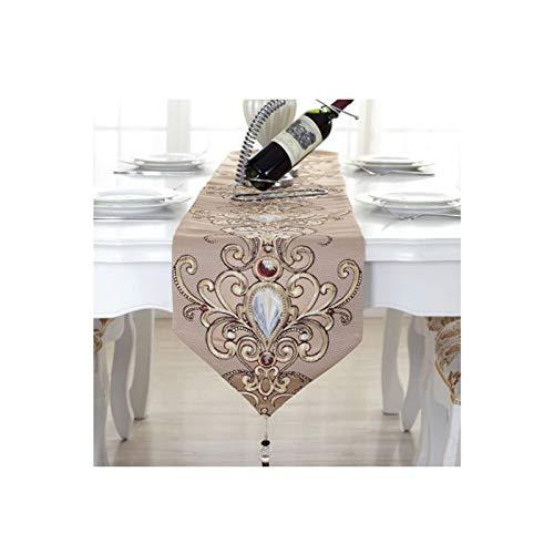 Rubyia Table Runner, Moda Bordado de Flor de Gema Camino Mesa Decora Mesa, Linaza, 32 x 180 cm, Café Claro