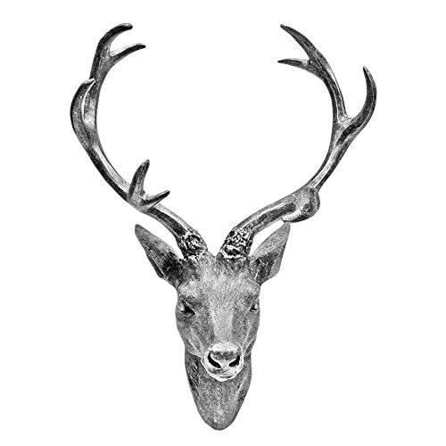 Unbekannt Hirschgeweih Hirschkopf Geweih 10-Ender in Silber Metall-Optik - Höhe 30 cm, Figur Skulptur Deko