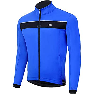 Souke Sports Men's Winter Warm Cycling Jacket Windproof Running Water Resistant Thermal Breathable Softshell Windbreaker Reflective for Bike Riding Blue?Blue?X-Large)