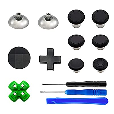 EASEGMER 11 pcs Metal Thumbsticks Magnetic Base D-Pads Replacement Parts, Swap Analog Joysticks Accessories Fit for PS4, Pro,Slim Controllers