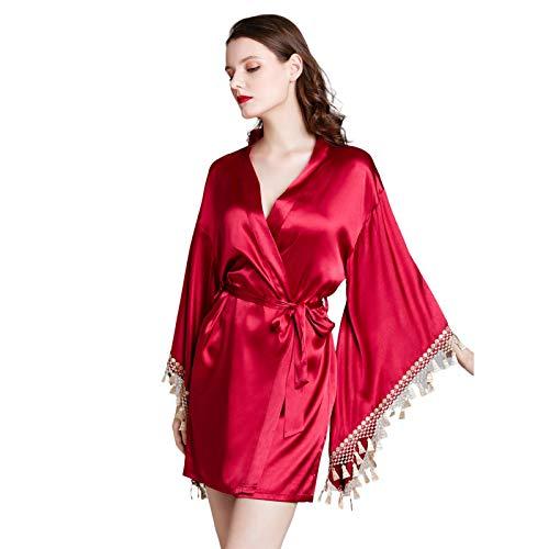 ZZJCY Batas Creativas De Kimono para Mujer, Bata para Damas Y Niñas con Patrón De Encaje, Pijama De Boda para Dama De Honor,XL