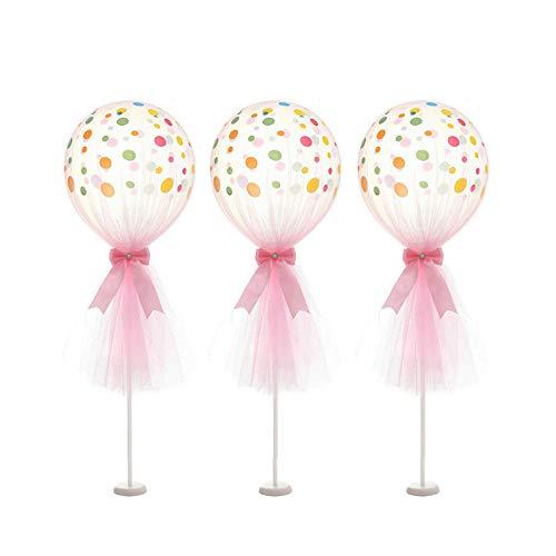 Artstore - Globos de tul de 30 cm, globos de látex de lunares con base de columna, kit para decoración de bodas, fiestas de cumpleaños, 6 unidades, Rosado