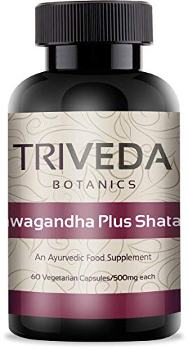 Triveda |Ashwagandha Plus Shatavari | Rejuvenating and Adaptogenic Formula| 100% Natural Ayurvedic Supplement | Veggie Capsules |