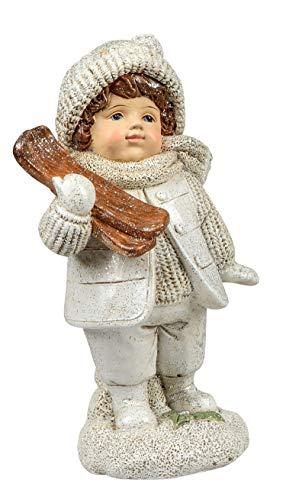 dekojohnson Winterkind Dekofigur Junge mit Ski Winterdeko Weihnachtsdeko Winterkinder-Figuren Wintersportler Creme weiß Gold stehend 15cm groß