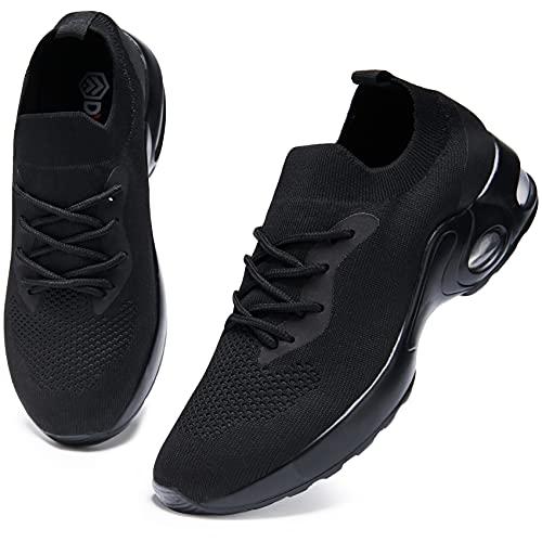 DYKHMATE Donna Air Scarpe da Ginnastica Leggero Respirabile Running Basse Basket Sport Outdoor Fitness Sneakers (Nero Assoluto,39 EU)