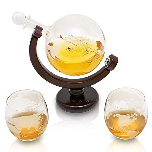 VinoYes - Elegante juego de jarra de whisky con 2 vasos hechos a mano – 850 ml (L – con 2 vasos)
