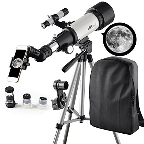 Telescope for Kids 70mm Aperture 400mm AZ Mount Astronomical Refractor Portable Telescope for Kids and Beginners with Backpack,10mm Eyepiece Phone Adapter to View Moon and Planet