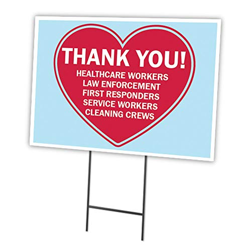 Thank You First Responders Cleaning Crews 12' X 16' Yard Sign & Stake | Protect Your Business, Municipality, Home & Colleagues | Made in The USA