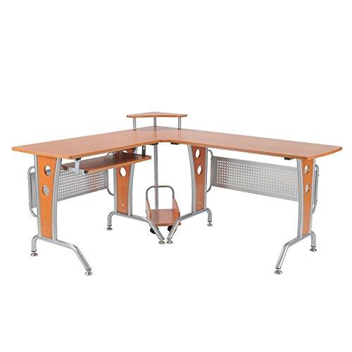HOMCOM Scrivania ad Angolo per Computer scrivania da ufficio Tavolo PC in legno marrone