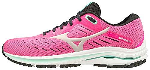 Mizuno womens Wave Rider 24 Running Shoe, Pink Glo-nimbus Cloud, 9.5 US
